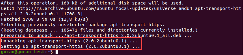 Output when installing apt-transport package.