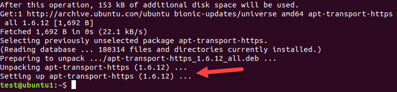 The output when installing APT transport package.