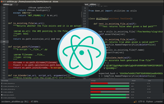 Atom editor with the official logo in the center