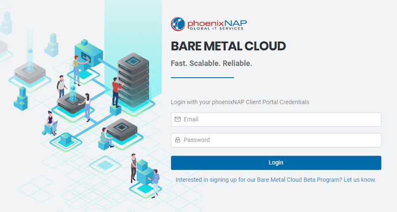 PhoenixNAP Bare Metal Cloud login page.