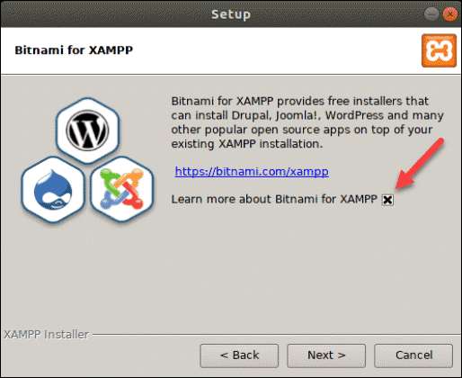 install sponsored applications on top of the XAMPP installation