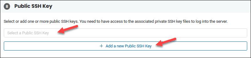 BMC portal public SSH key field.