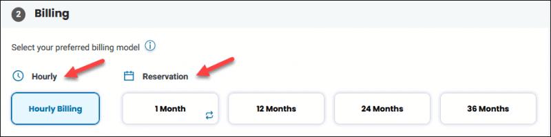 BMC portal deploy server billing step
