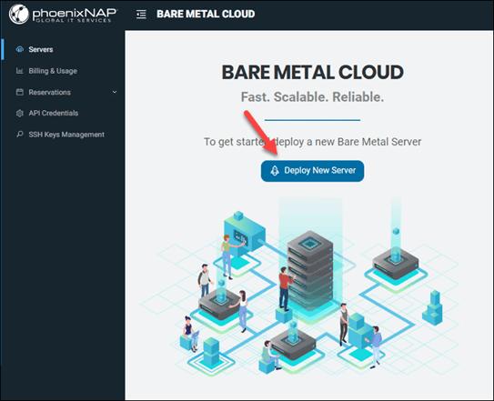 BMC portal deploy new server button