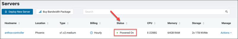BMC portal server status page