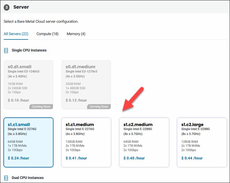BMC server configuration selection