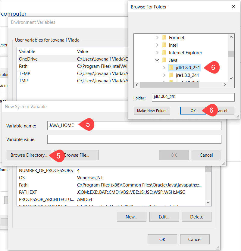 Add JAVA_HOME variable and append installation folder path.