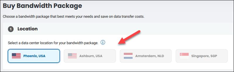 Choose a bandwidth package data center location