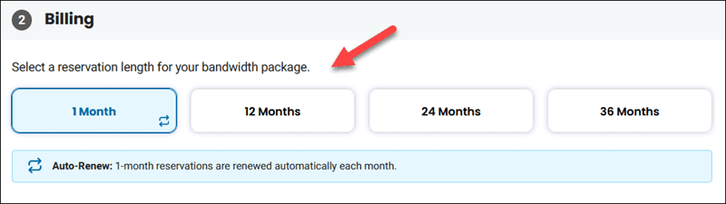 Choose a billing model for bandwith package
