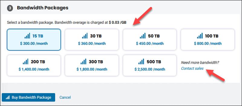 Choose a bandwidth package.