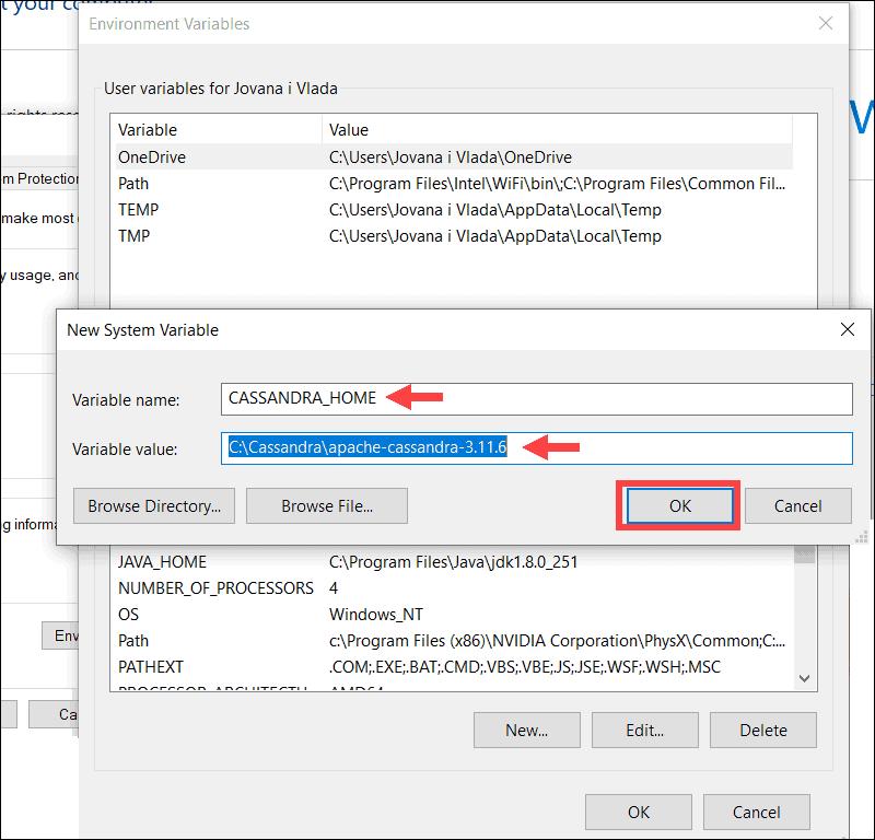 Add new variable for Cassandra by appending installation folder location.