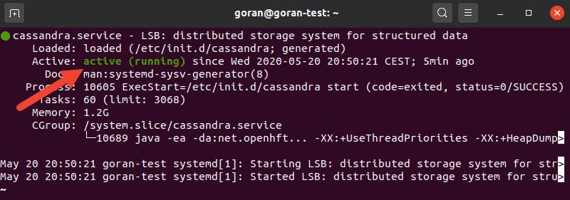 Command for checking Cassandra status.