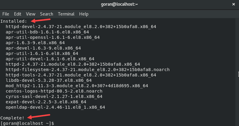 Installing httpd devel utility in CentOS