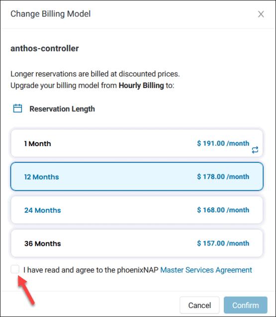 BMC server change billing option.