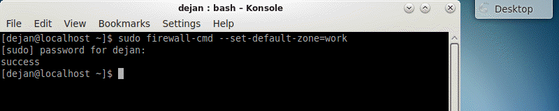 changing the default firewall zone