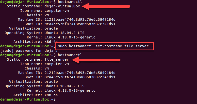 Using the terminal to change the hostname in Ubuntu.
