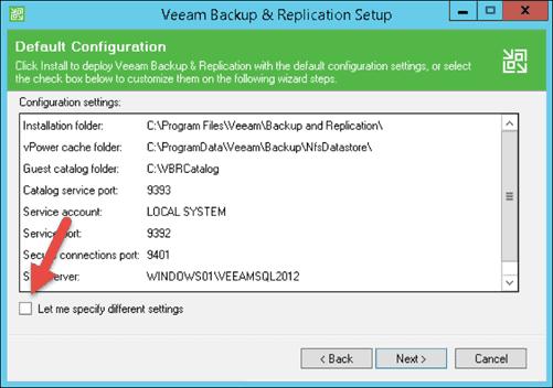 change installation settings in veeam