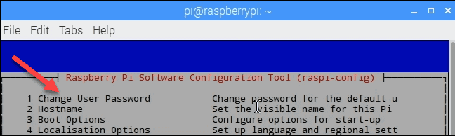 example of raspi-config tool to change Raspberry Pi default account passoword