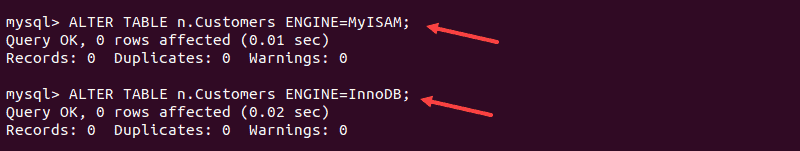 Changing MyISAM and InnoDB storage engines in terminal.