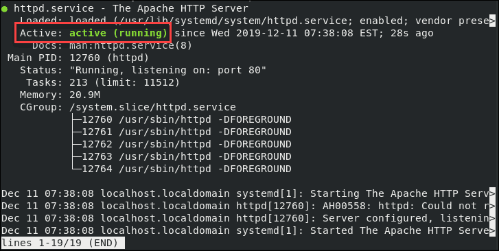 example of an active Apache httpd service