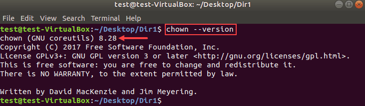 Determine version of chown in Linux