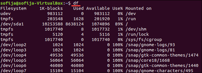 Command to check disk space on Linux.