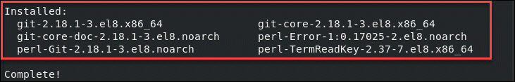 command to check git version and output on Centos 8