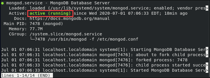 Checking the MongoDB service status is running