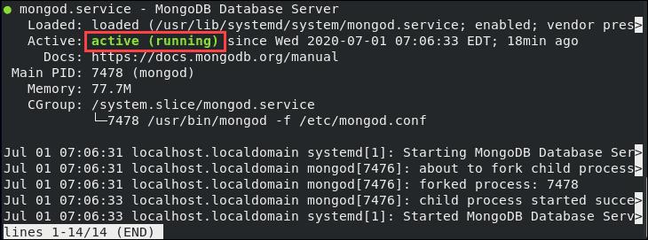 Checking the MongoDB service status is running
