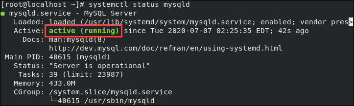 Checking the MySQL status