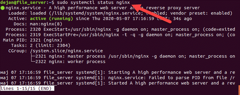 Checking the status of an Nginx webserver in terminal