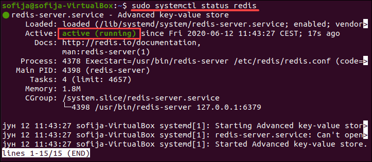 Checking the status of Redis service