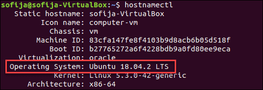 Check Ubuntu version using hostnamectl command.