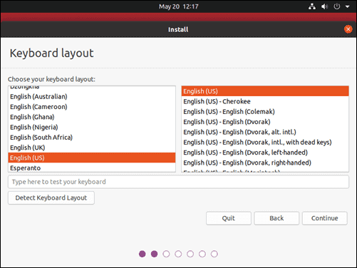Choose keyboard layout for Ubuntu 20.04.
