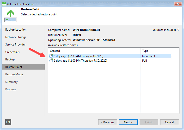 Select a restore point from the list