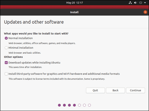 Choose starting applications for Ubuntu 20.04.