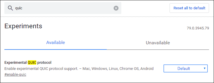 Chrome QUIC Protocol settings change to disabled.