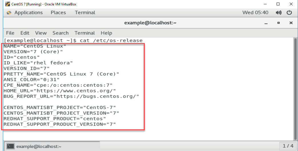example of Centos command output for operating system and release version