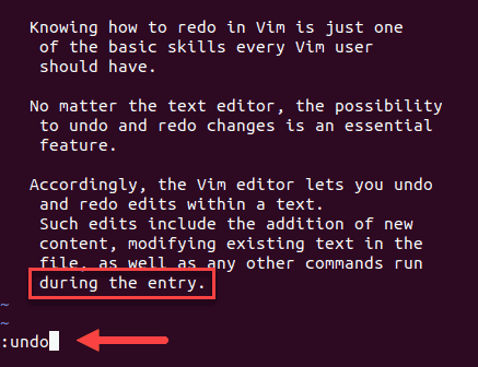 Command to undo the last Vim Vi change
