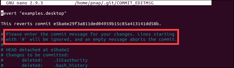 Define commit message for the revert action
