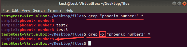 example of comparison with the x operator in grep command
