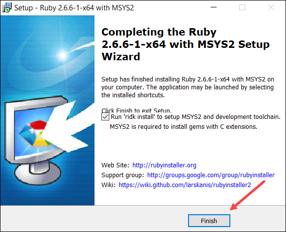 ruby install is finished