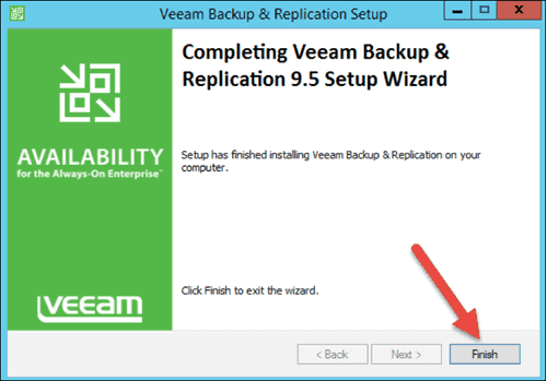 completing veeam backup and replication setup wizard