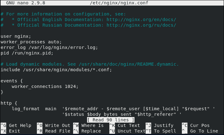 An example of a Nginx configuration file.