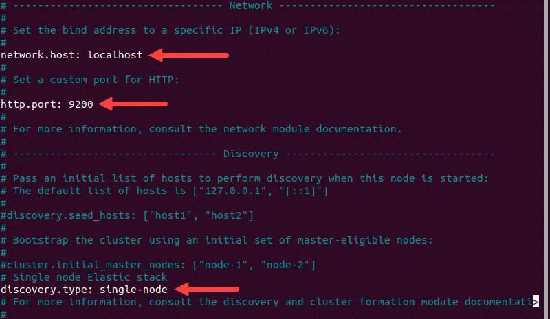 Configuring Elasticsearch as a single-node cluster.