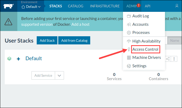 Navigate to Access Control to configure Rancher.