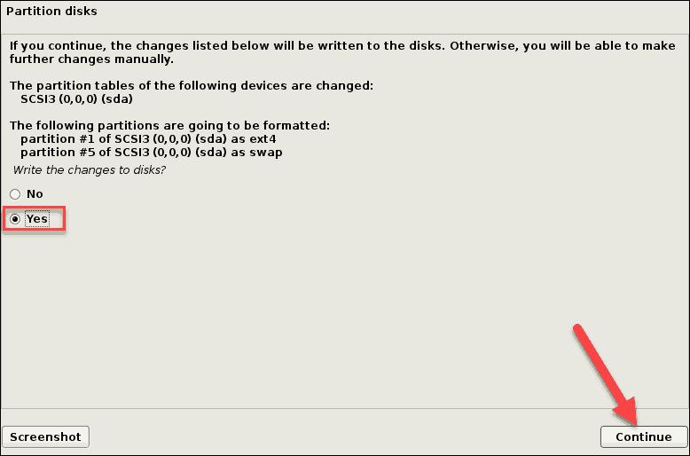 confirm disk partitioning debian