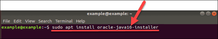 Command to install Java 10 on Ubuntu.