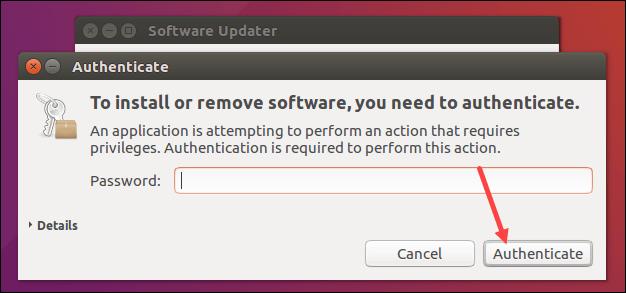 Provide password to confirm software update on Ubuntu 16.04.