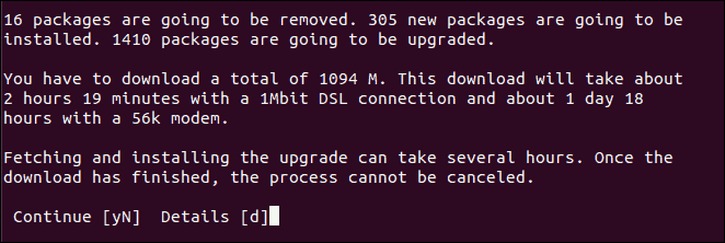 Confirm Ubuntu Update via Command Line